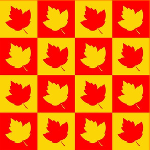 Leaf Silhouettes Checkered Red & Yellow (Medium 3 inch squares)