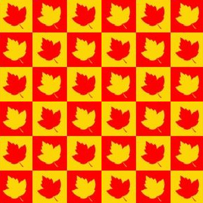 Leaf Silhouettes Checkered Red & Yellow (Small 1 inch squares)