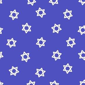star of david fabric - jewish fabric, hanukkah fabric, - medium blue
