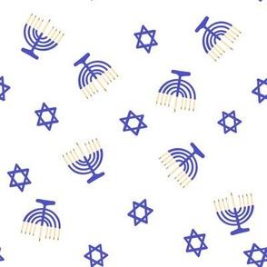 hanukkah fabric - blue fabric, jewish fabric, star of David fabric - white