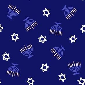 hanukkah fabric - blue fabric, jewish fabric, star of David fabric - navy