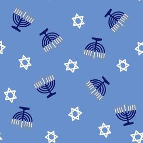 hanukkah fabric - blue fabric, jewish fabric, star of David fabric - blue