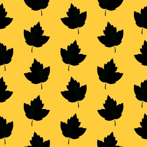 Black & Yellow Leaf Silhouettes (Large Size)
