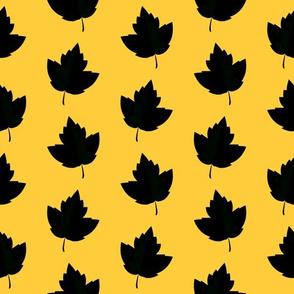 Black & Yellow Leaf Silhouettes (Medium Size)