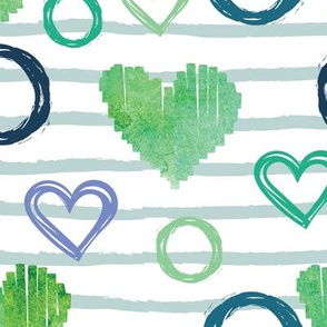 Green valentine hearts