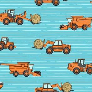 farming equipment - farm - orange on blue stripes - LAD19