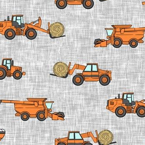 farming equipment - tractor farm - orange on grey - LAD19