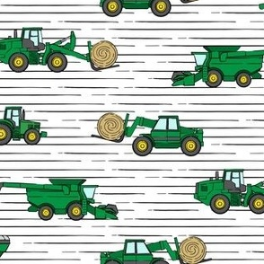 farming equipment - tractor farm - green on stripes - LAD19