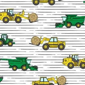 farming equipment - tractor farm - yellow green on stripes - LAD19