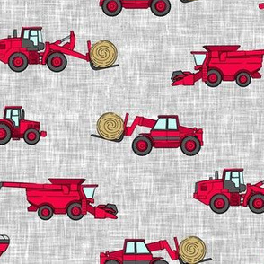 farming equipment - tractor farm - red on grey - LAD19