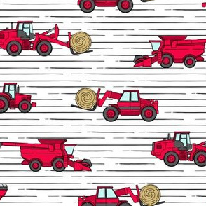 farming equipment - tractor farm - red on stripes - LAD19