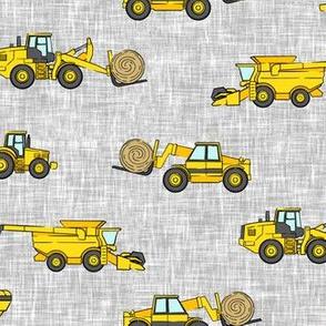 farming equipment - tractor farm - yellow on grey - LAD19