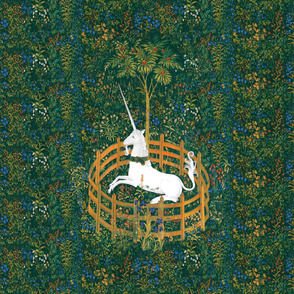 The Unicorn Is In Captivity ~ Floral Tapestry _ Fleurs de Lynn _ Copyright Peacoquette 2019