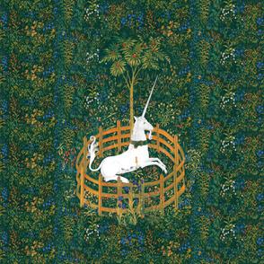 The Unicorn Is In Captivity ~ Floral Tapestry ~ Fleurs de Lynn  ~ Reverse