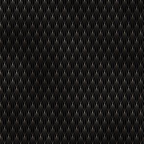 Black and Gold Foil Vintage Fan Art Deco Pattern