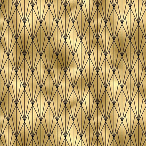Gold Faux Foil Vintage Fan Art Deco Pattern