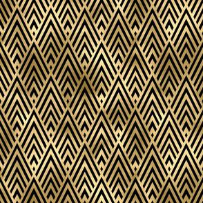 Diamond Chevrons in Black and Gold Vintage Faux Foil Art Deco Vintage Foil Pattern