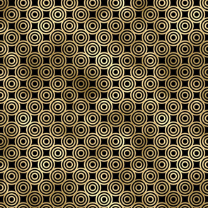 Circle Rings in Black and Gold Vintage Faux Foil Art Deco Vintage Foil Pattern