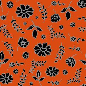 Fiori di Mimi's Meadow - Black on orange clay, large