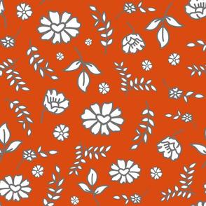 Fiori di Mimi's Meadow - White on orange clay,, large