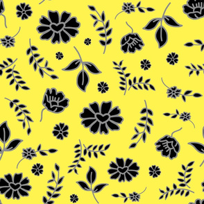 Fiori di Mimi's Meadow - Black on lemon yellow, large