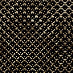 Dotted Scales in Black and Gold Vintage Faux Foil Art Deco Vintage Foil Pattern