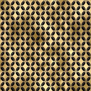 4 Leaf Quatrefoils in Black and Gold Vintage Faux Foil Art Deco Vintage Foil Pattern