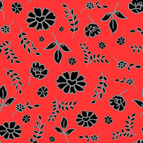 Fiori di Mimi's Meadow - Black on chilli red, large