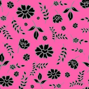 Fiori di Mimi's Meadow - Black on candy pink, large