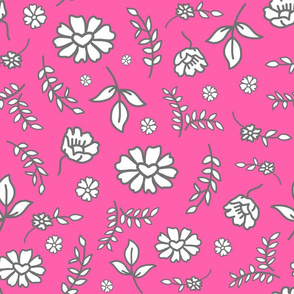 Fiori di Mimi's Meadow - White on candy Pink, large