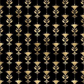 Damask Motifs in Black and Gold Vintage Faux Foil Art Deco Vintage Foil Pattern