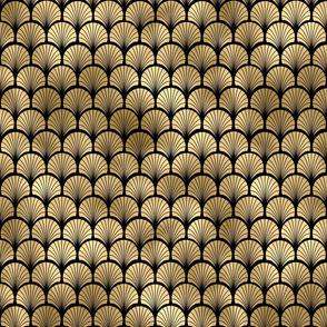 Fan Palms in Black and Gold Vintage Faux Foil Art Deco Vintage Foil Pattern