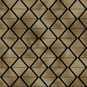 Lined Diamonds in Black and Gold Vintage Faux Foil Art Deco Vintage Foil Pattern