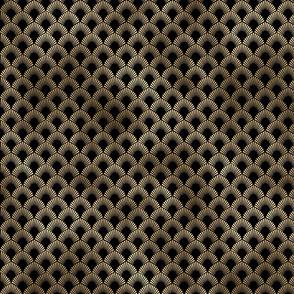 Leafed Palms in Black and Gold Vintage Faux Foil Art Deco Vintage Foil Pattern