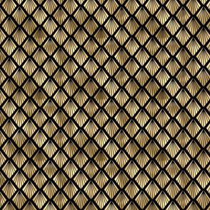 Small Palm Fans in Black and Gold Vintage Faux Foil Art Deco Vintage Foil Pattern