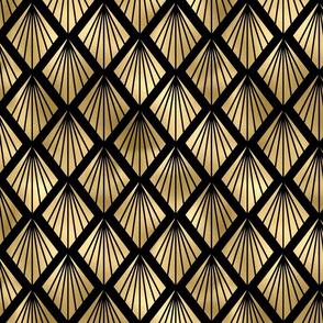 Palm Fans in Black and Gold Vintage Faux Foil Art Deco Vintage Foil Pattern