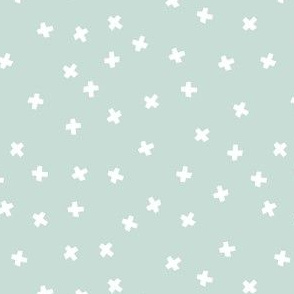 geometric white stars on light mint green