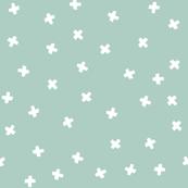 White cross stars on aqua
