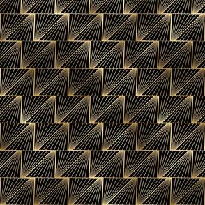 Diagonal Triangles in Black and Gold Vintage Faux Foil Art Deco Vintage Foil Pattern