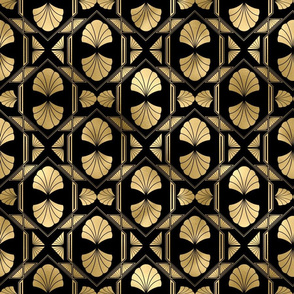 Scallop Shells in Black and Gold Art Deco Vintage Foil Pattern