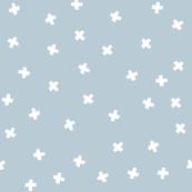 White cross stars on light grey blue