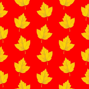 Yellow Leaves with Red Background (Large Size)