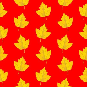 Yellow Leaves with Red Background (Small Size)