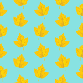 Yellow Leaves with Sky Blue Background (Large Size)