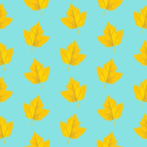 Yellow Leaves with Sky Blue Background (Small Size)