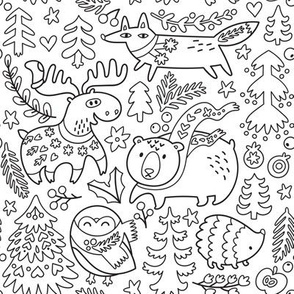 cozy winter day for coloring