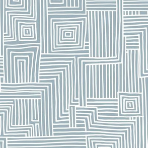 Mudcloth maze stripes minimal Scandinavian grid trend abstract geometric labyrinth blue white