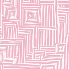 Mudcloth maze stripes minimal Scandinavian grid trend abstract geometric labyrinth pink white