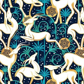 Small scale // Deco Gazelles Garden Christmas Version // navy background white animals gold and green textured decorative elements