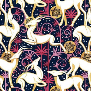Small scale // Deco Gazelles Garden Christmas Version // navy background white animals gold and red textured decorative elements